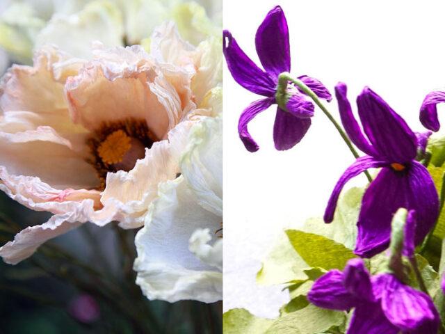 Papier-terapia: violette e papavero d'Islanda con Rosanna Frapporti